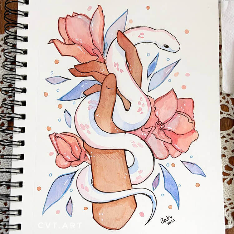 snake on hand painting