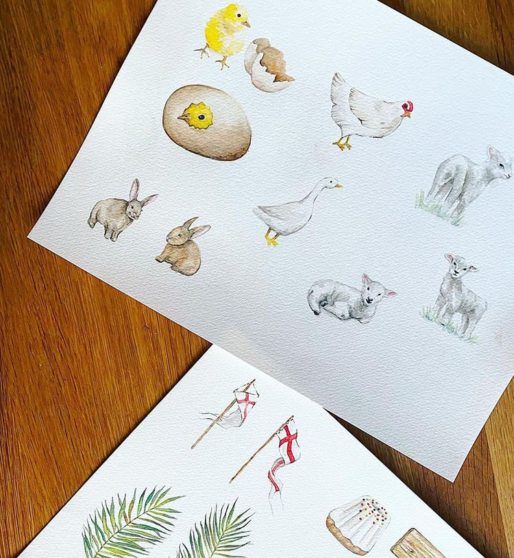 chicken and other animals painting