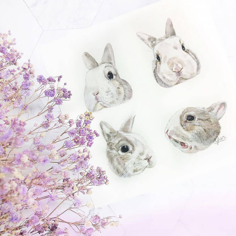 rabbit faces with purple flowers watercolor