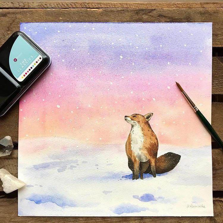 watercolor fox in snow