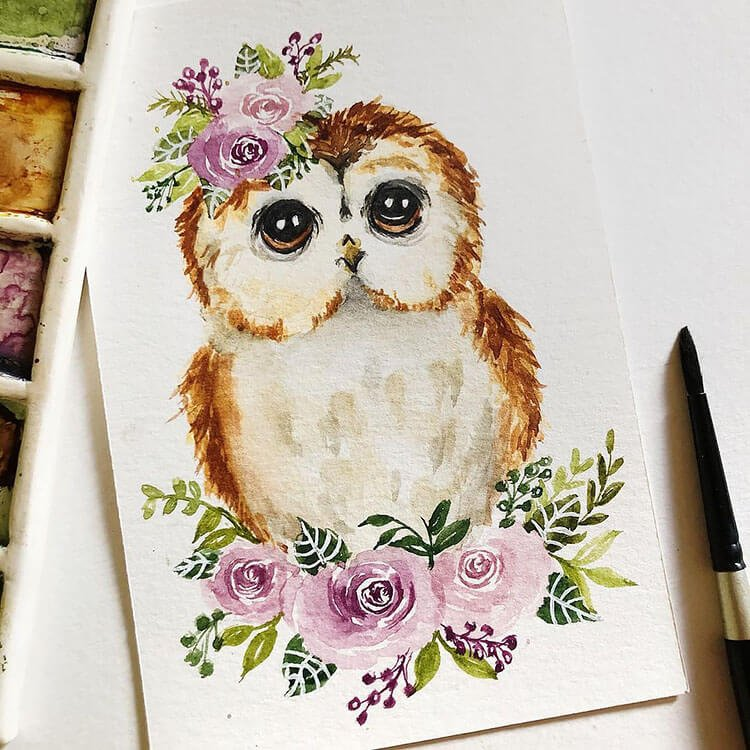 watercolor owl with flowers