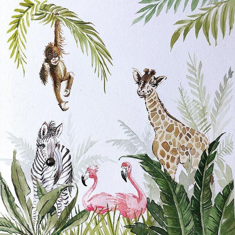watercolor rainforest animals