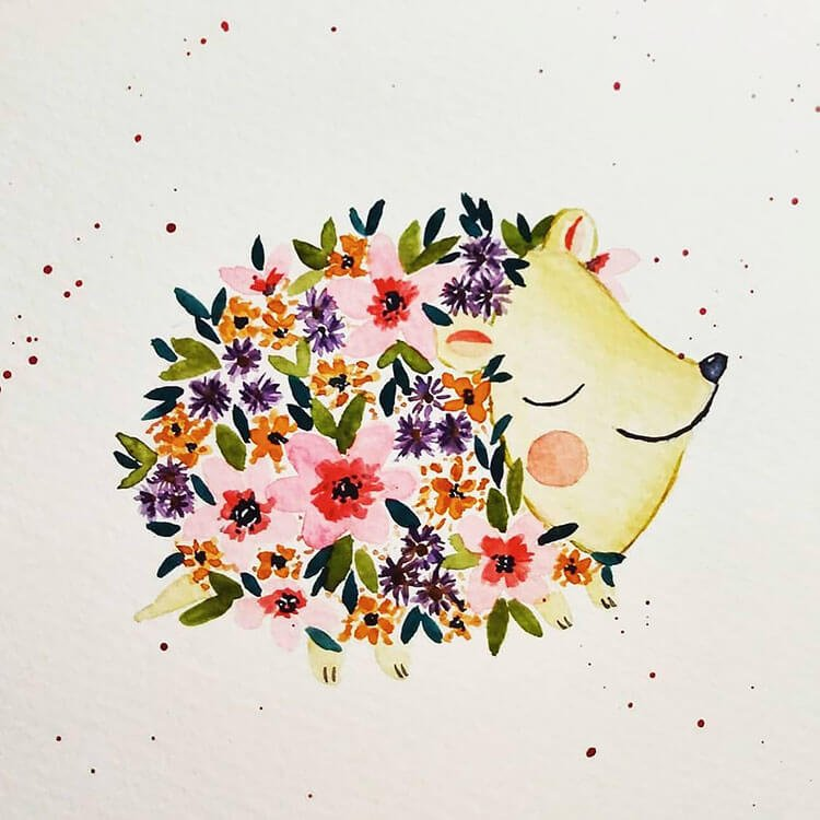 watercolor hedgehog with flowers