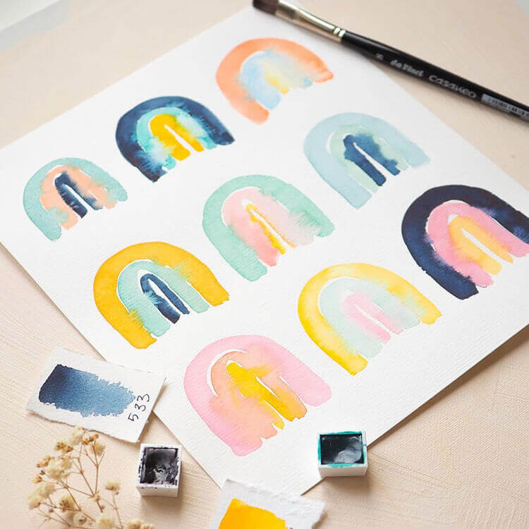 six watercolor rainbow options
