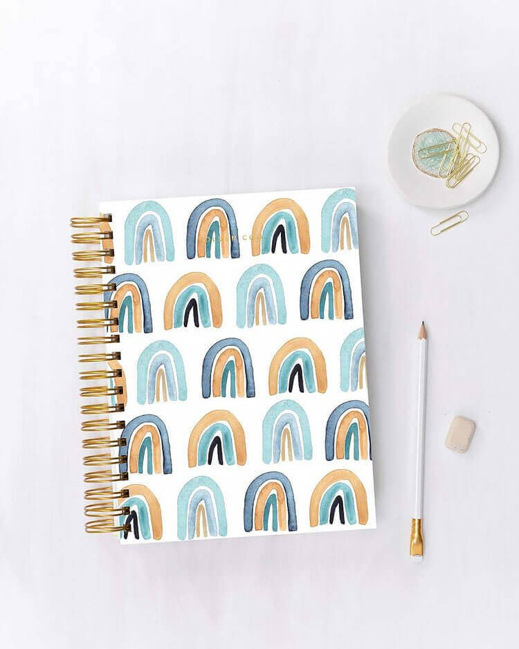 blue and gold rainbow notebook