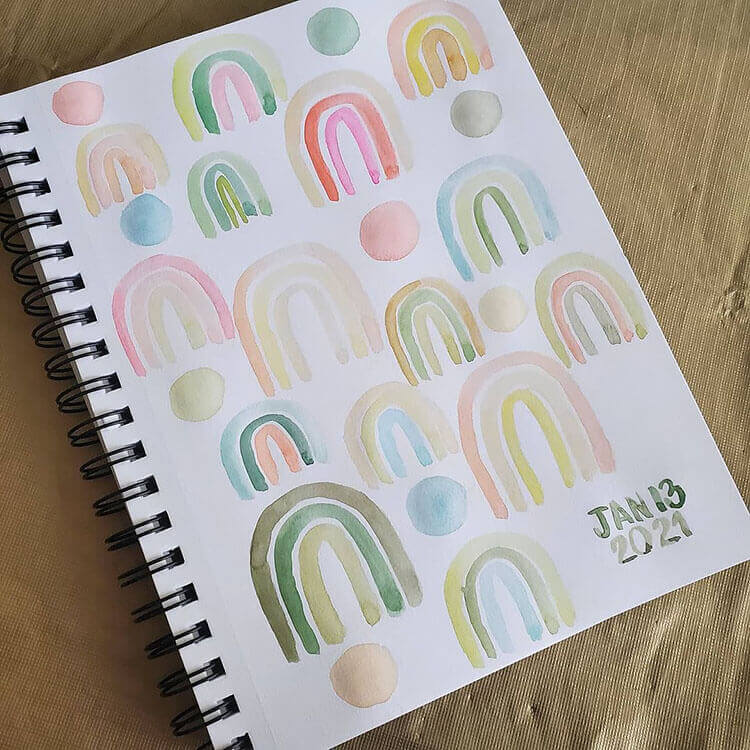page filled with mini rainbows