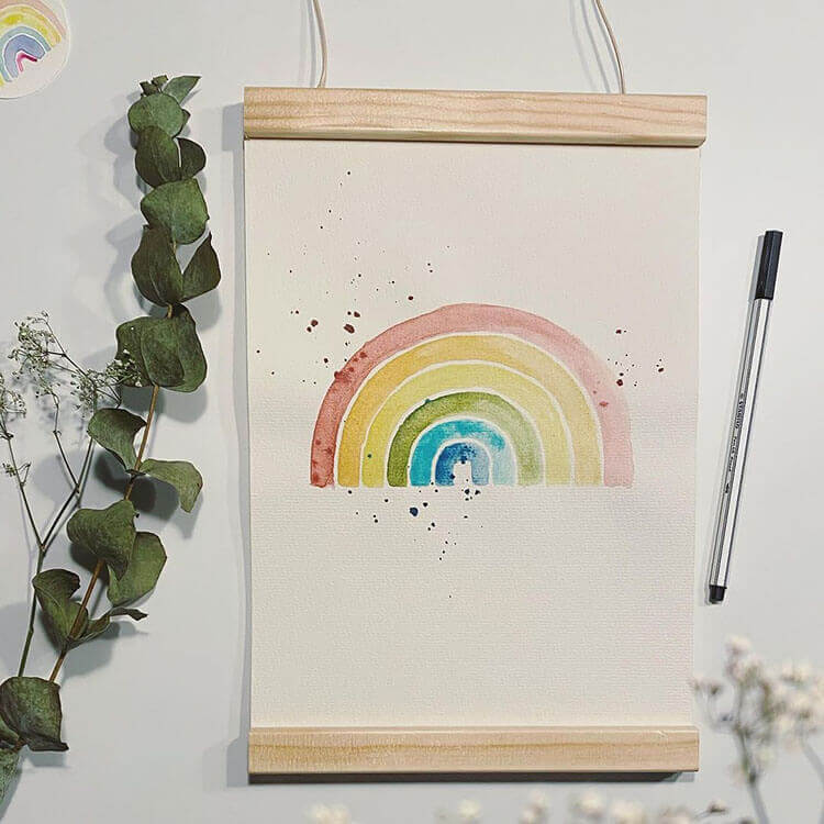 rainbow with paint splatters