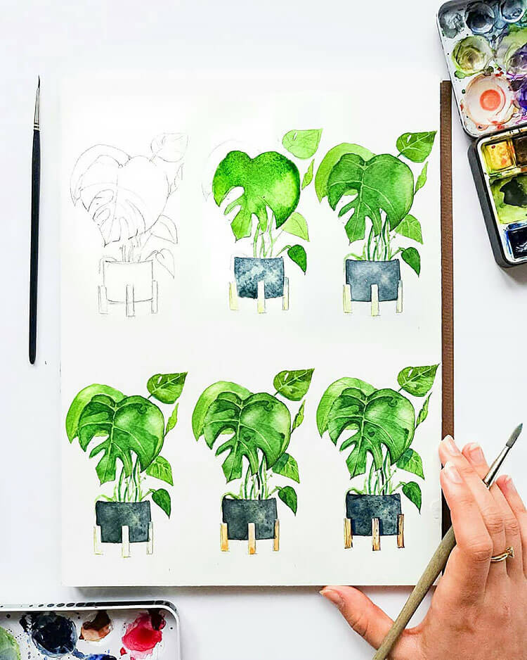green plant watercolor painting