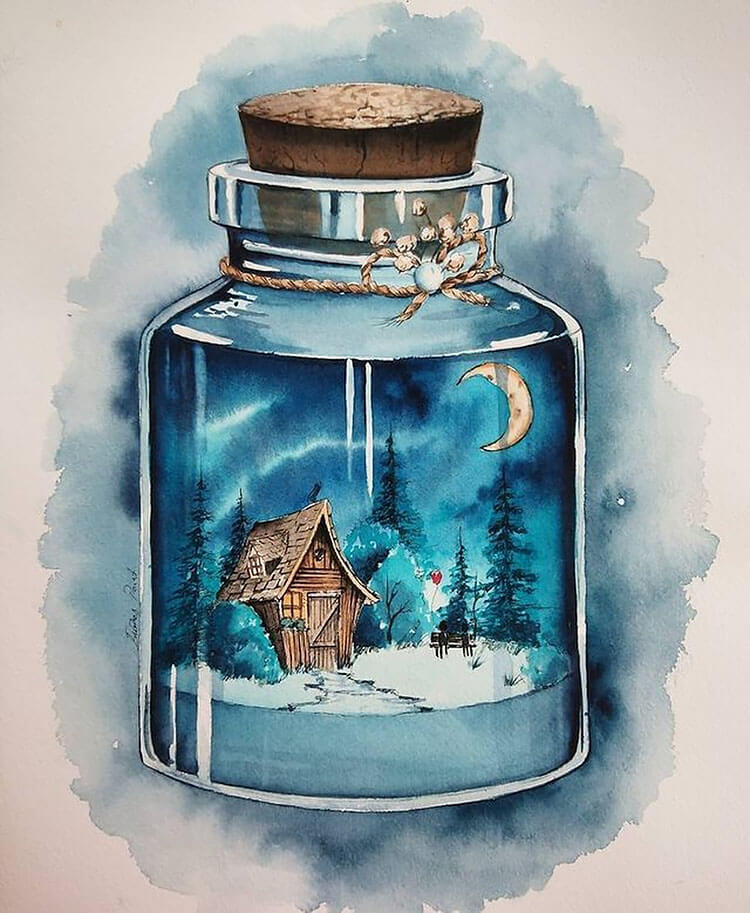 painting in a bottle watercolor painting