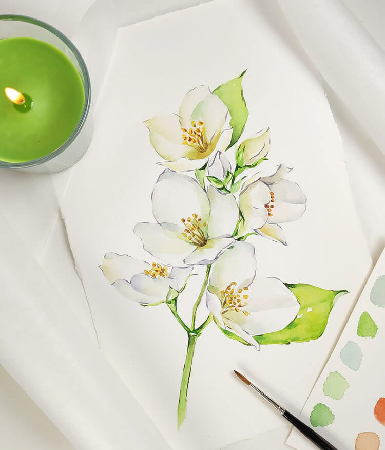 white flower watercolor painting