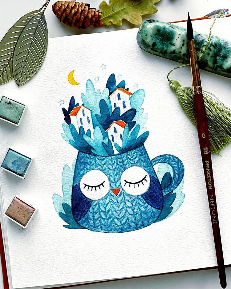 owl tea cup watercolor painting
