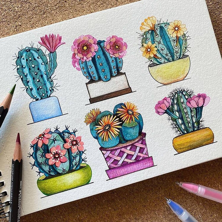 cactus and succulent watercolor painting