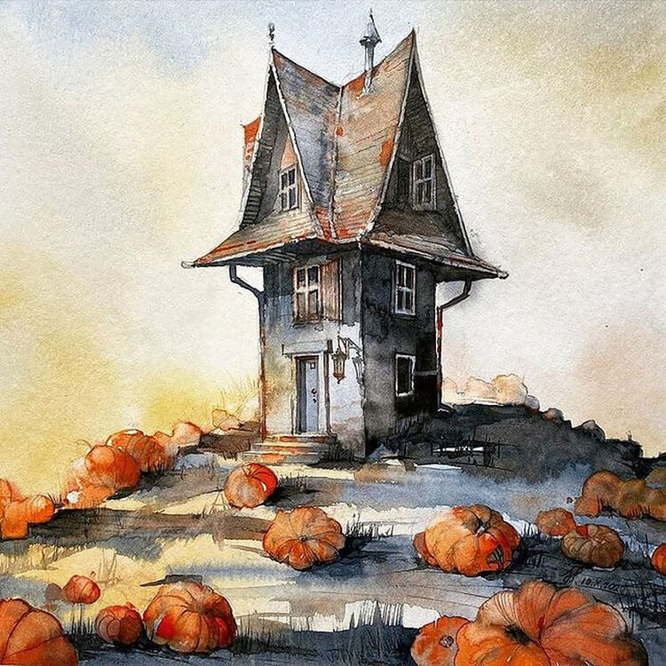 house with pumpkins watercolor painting