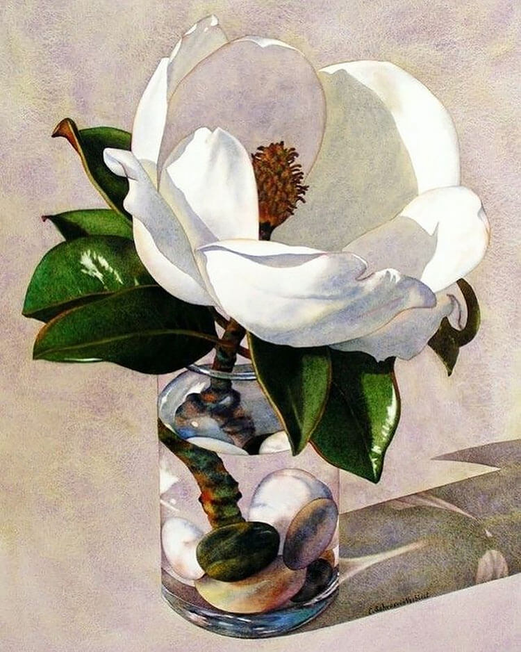 large white flower watercolor painting