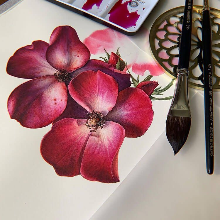 red flower watercolor painting