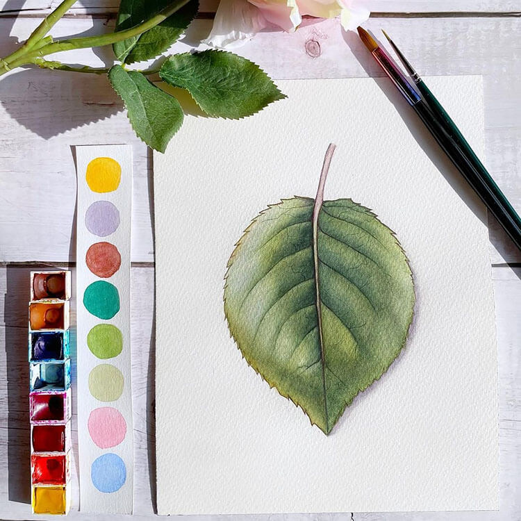 green leaf watercolor painting