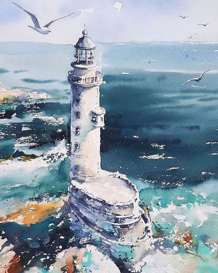 lighthouse with gull watercolor painting