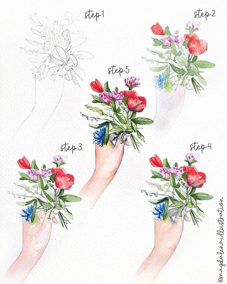 how to draw flowers watercolor painting