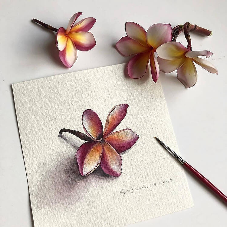 realistic flower watercolor painting