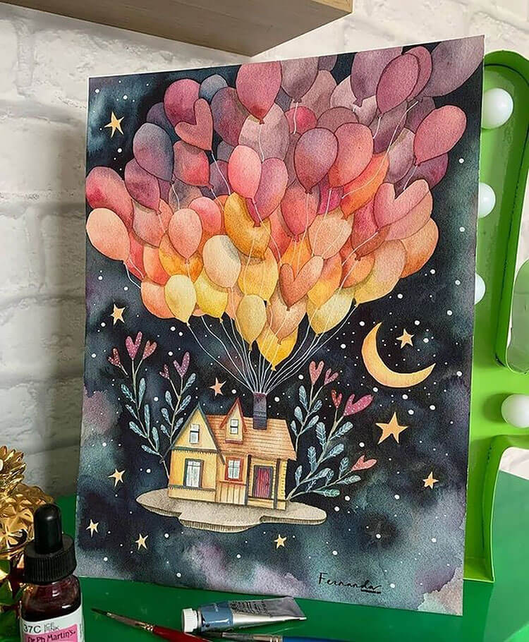 house with balloons watercolor painting