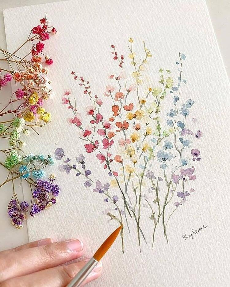 pastel flowers watercolor painting