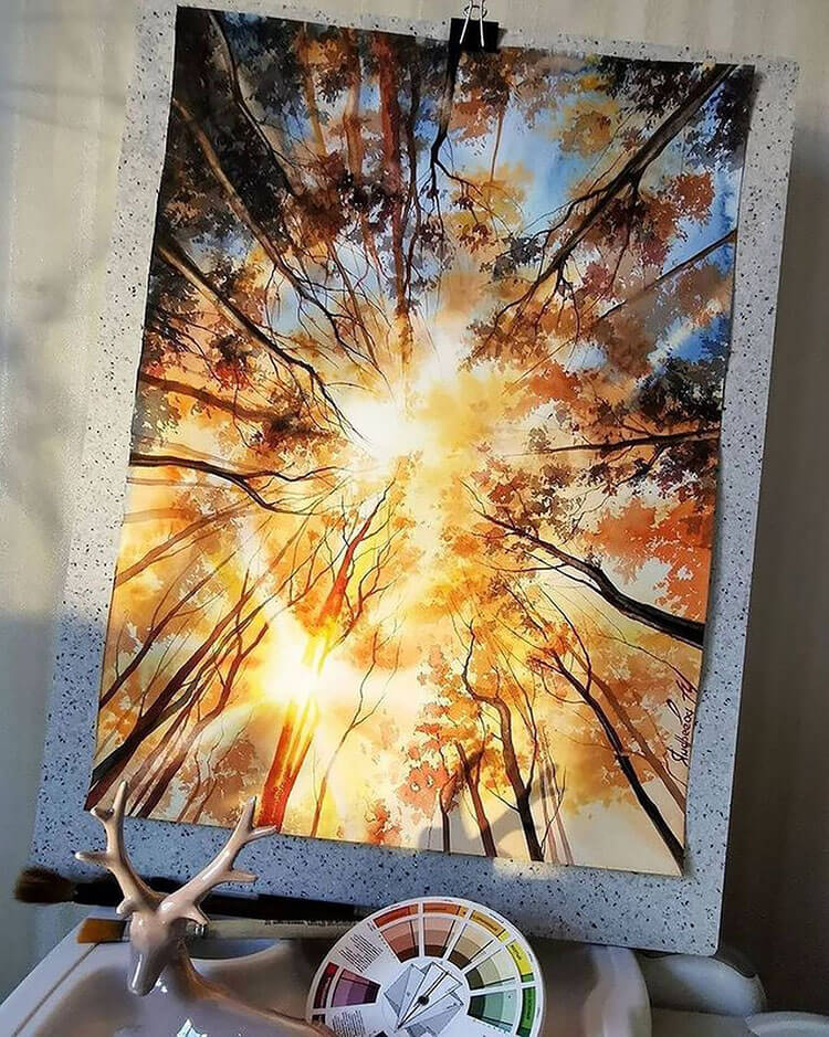 the woods and sun watercolor painting