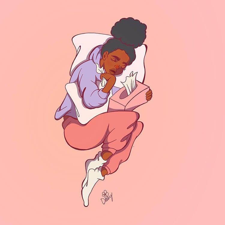 black girl with tissues illustration