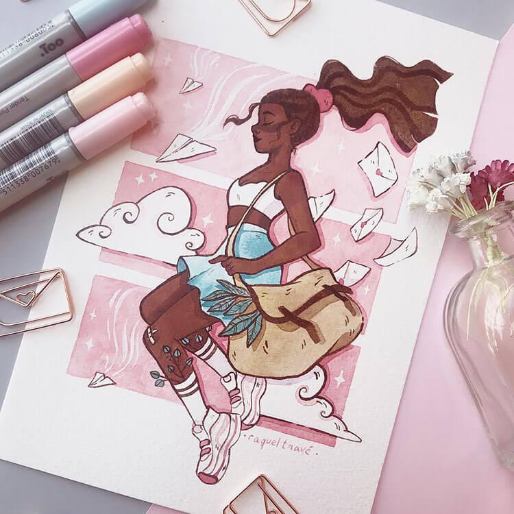 black girl with crop top illustration