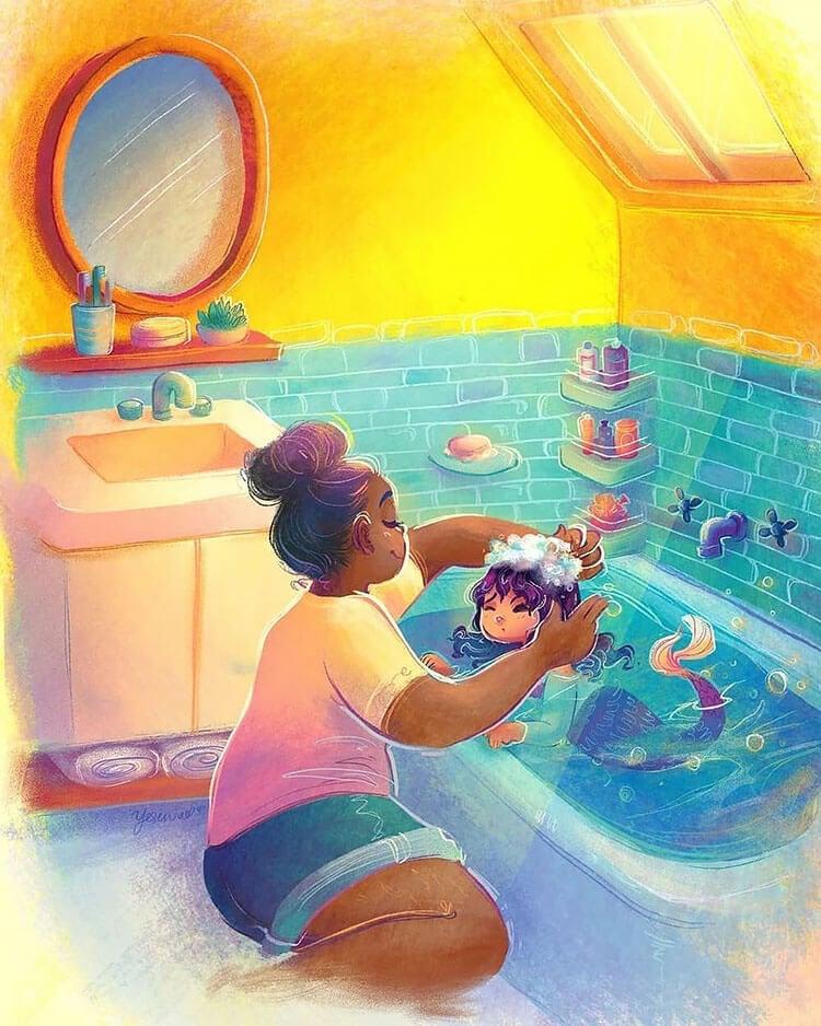 black mom giving child a bath illustration