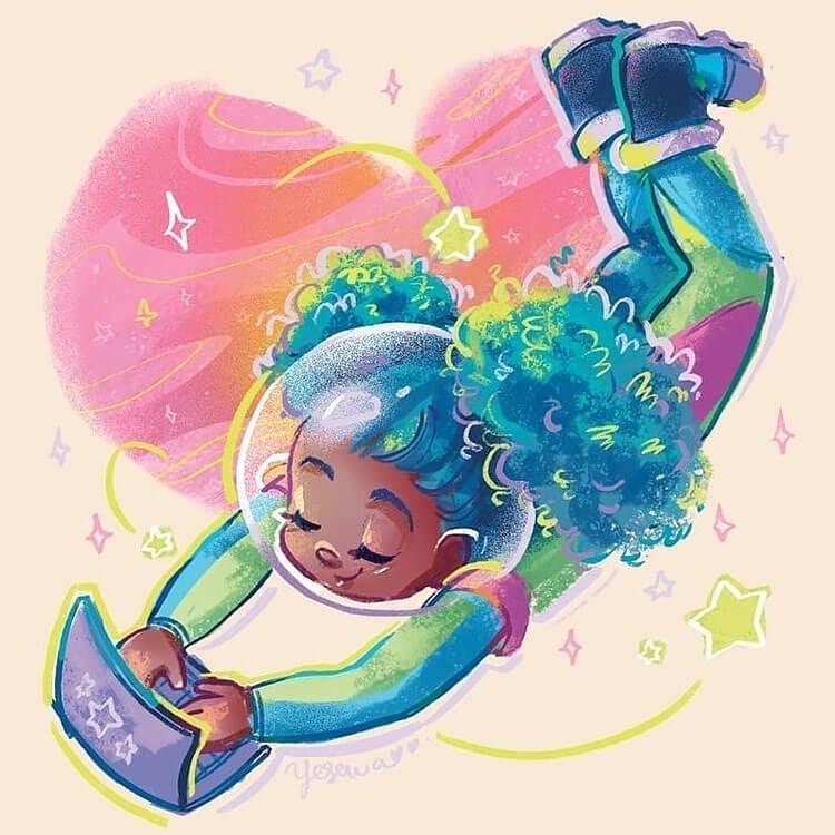black girl in space illustration
