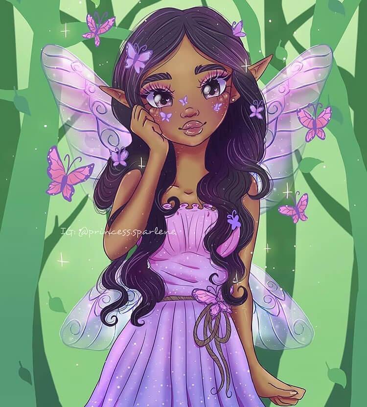 black girl fairy illustration