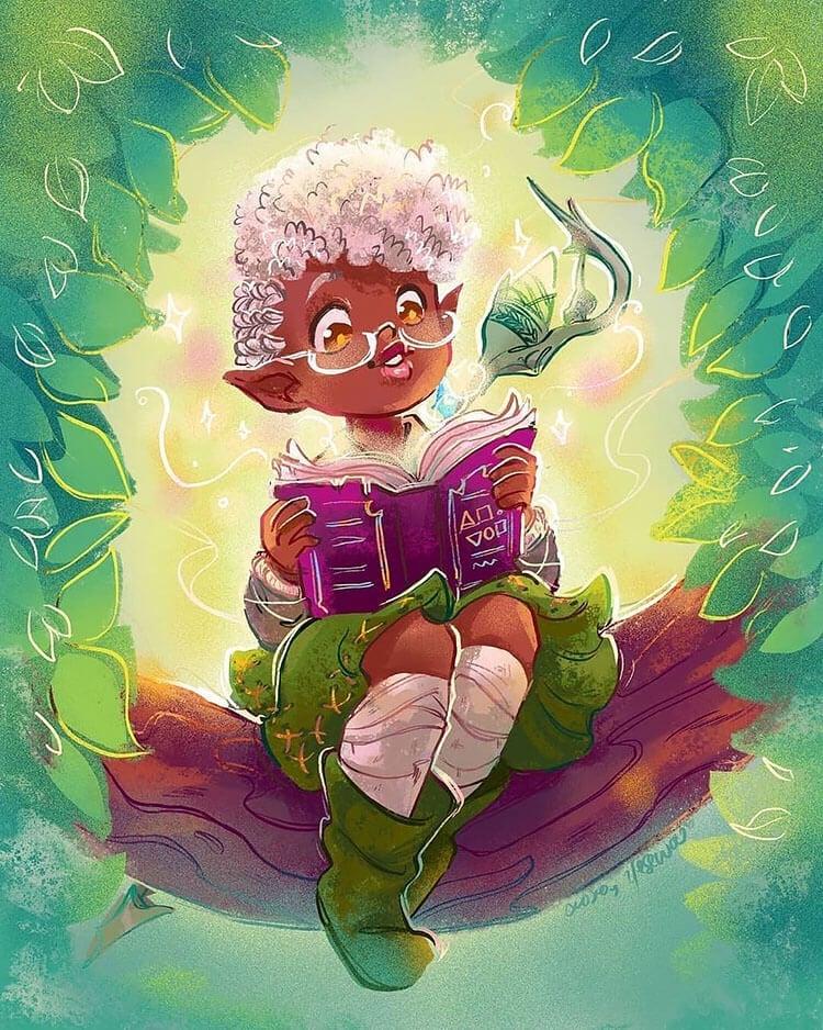 black girl elf illustration