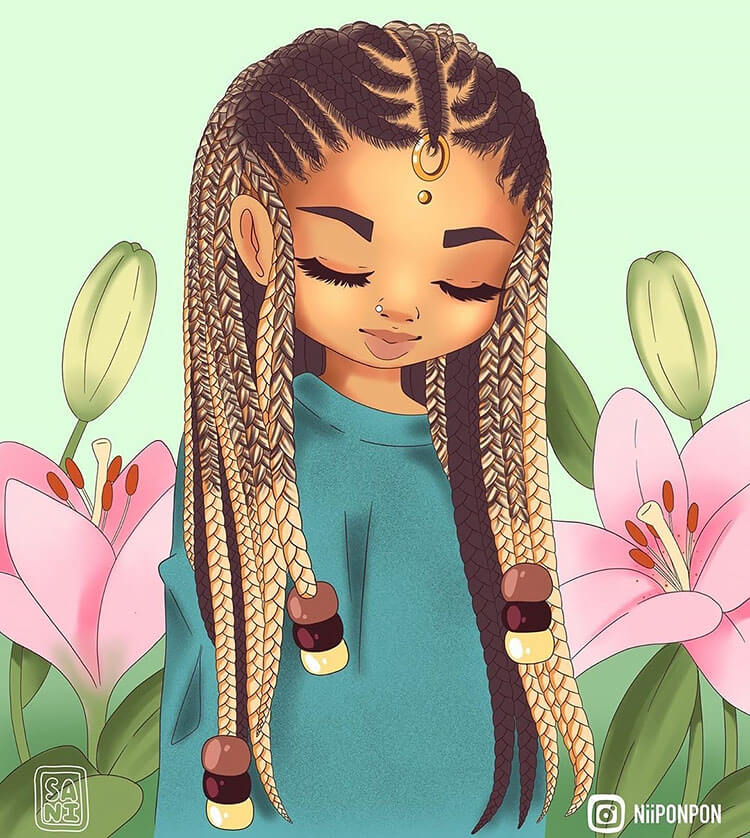 black girl with braids illustration (cornrows)