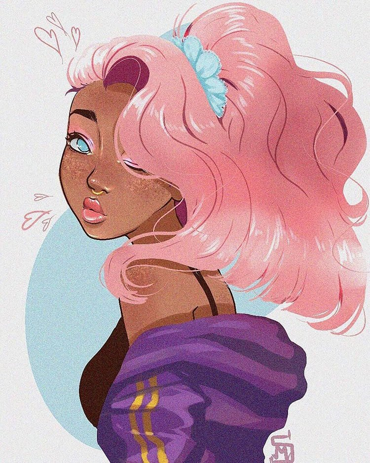 black girl with pink hair illustration