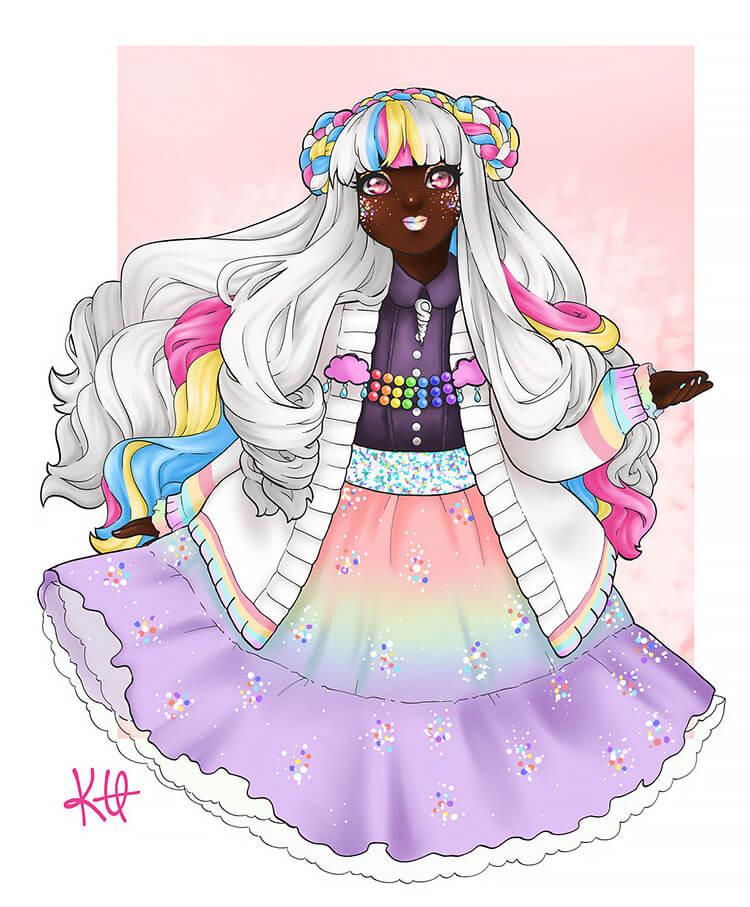 black girl with rainbow hair illustration
