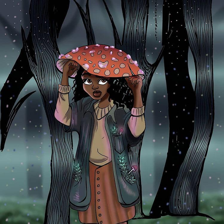black girl with mushroom hat illustration