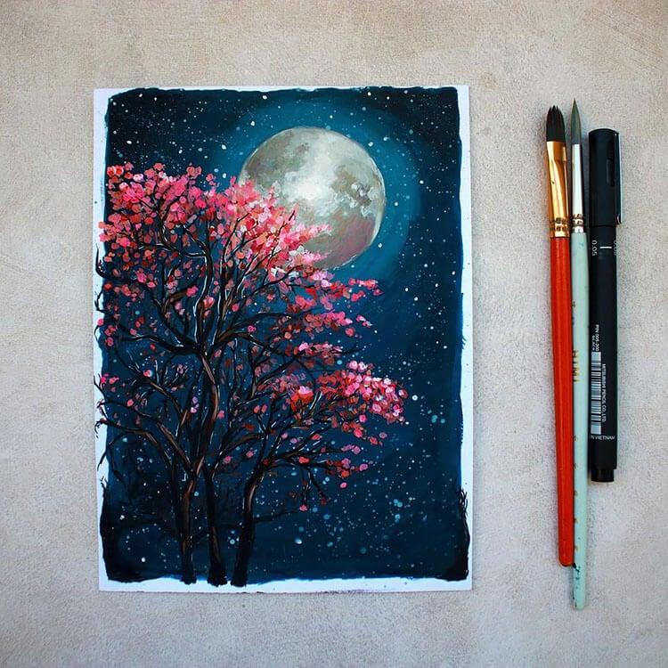 sakura tree with moon