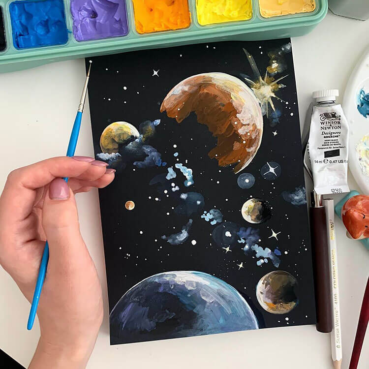 planets with black sky and stars