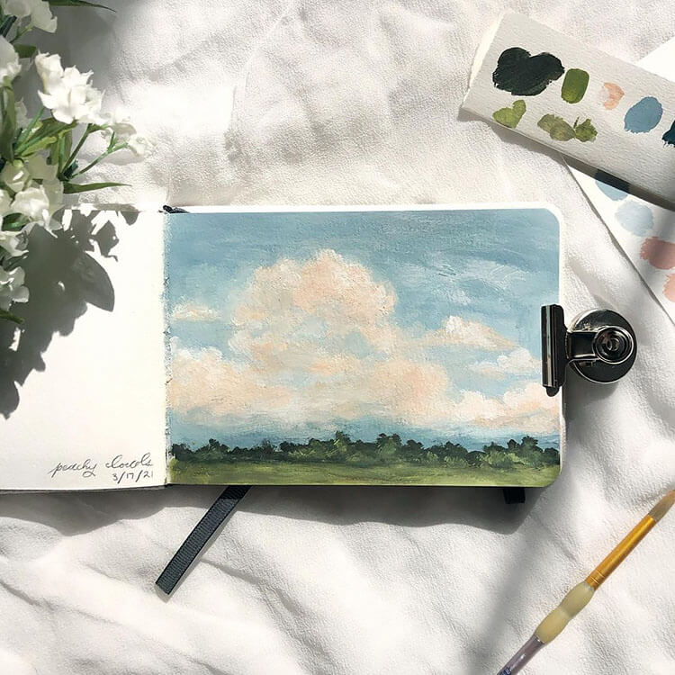 clouds with green grass