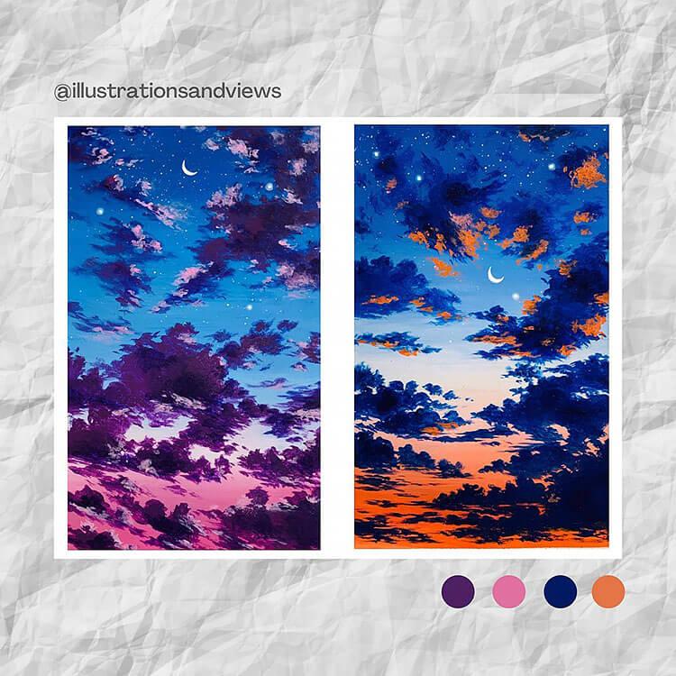 orange and purple night sky
