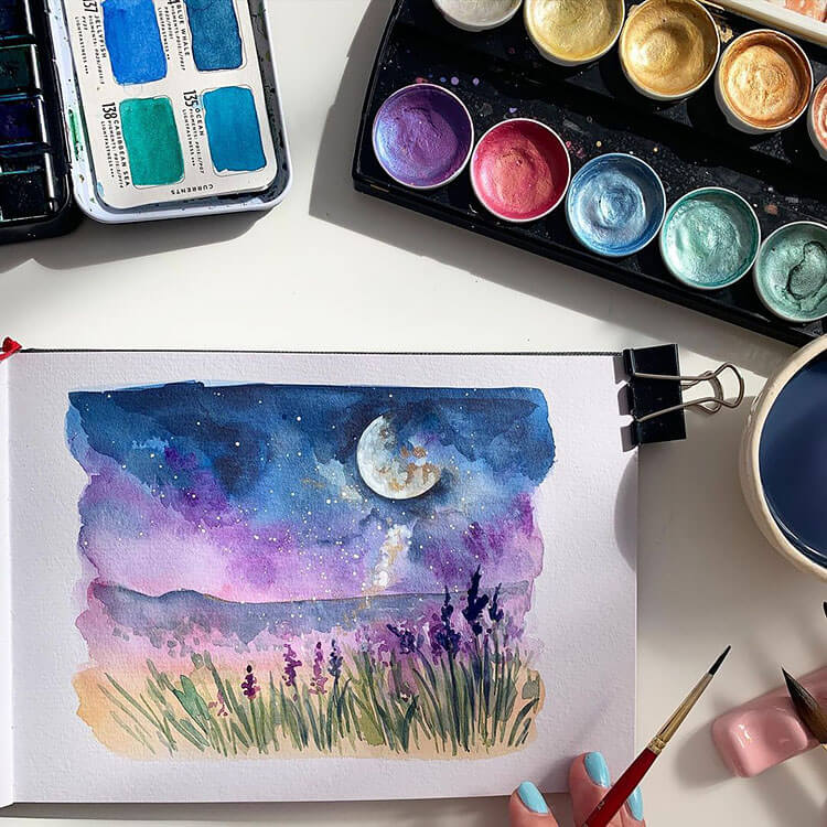 purple and blue sky with moon