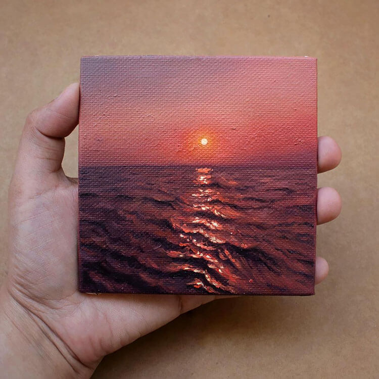 sunset with purple water