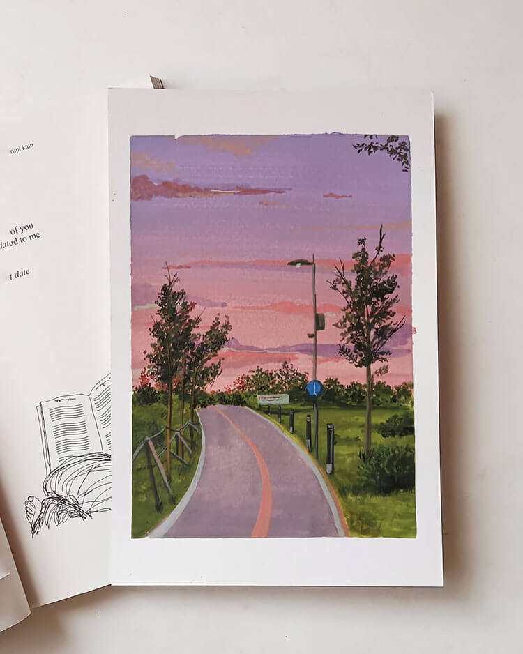 sunset with road