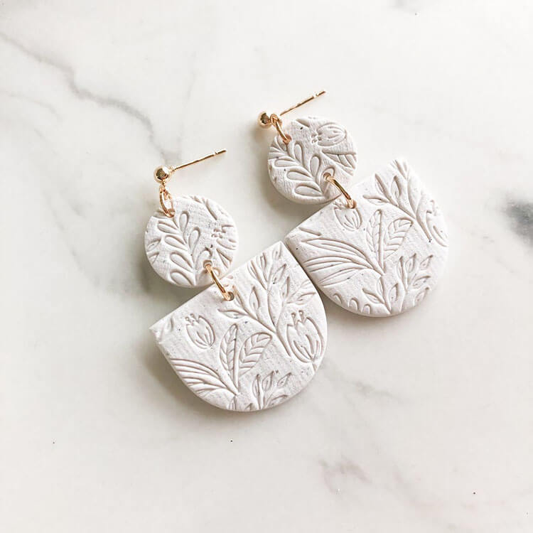 SPECKLED WHITE POLYMER CLAY EARRINGS