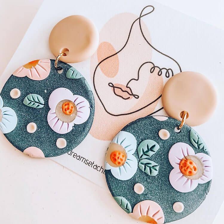FLOWER POLYMER CLAY EARRINGS
