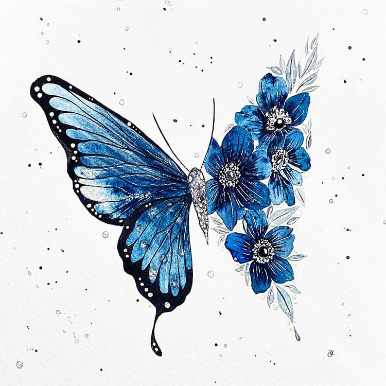 watercolor butterfly painting ideas 12