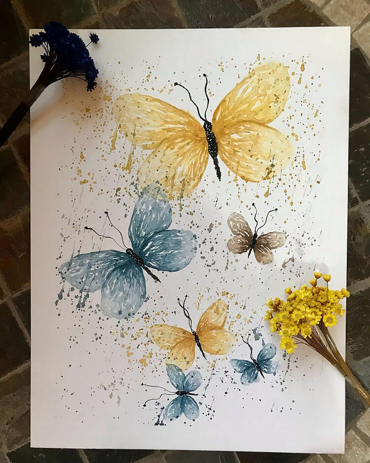watercolor butterfly painting ideas 8