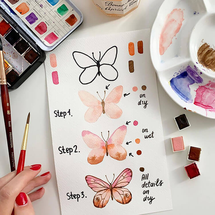 watercolor butterfly painting ideas 4