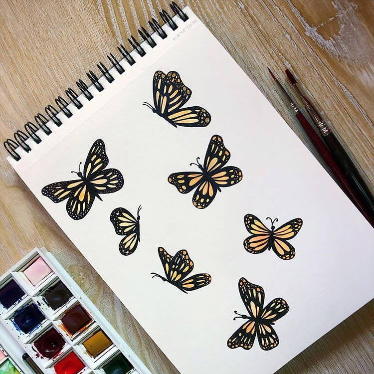 watercolor butterfly painting ideas 3