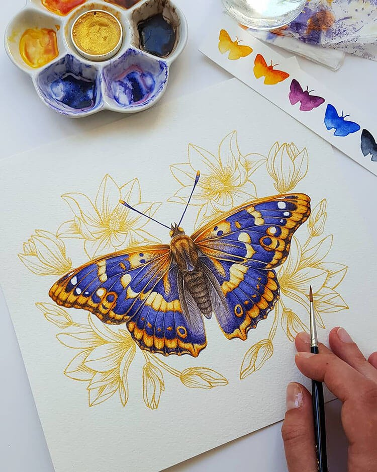 watercolor butterfly painting ideas 2